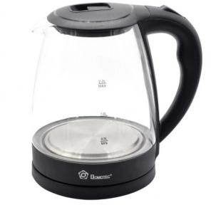 Електрочайник скляний Domotec MS-8210 2200W 2.2 л Black