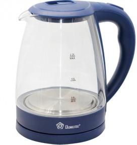 Электрочайник стеклянный Domotec MS-8211 2200W 2.2 л Deep blue