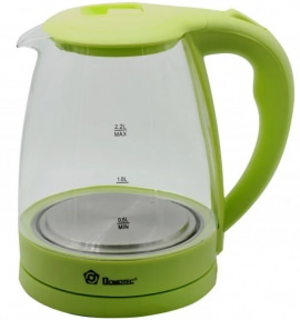 Электрочайник стеклянный Domotec MS-8212 2200W 2.2 л Green