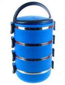 Пищевой термос HLV Lunch Box  C-128 4 уровня по 750 мл Blue