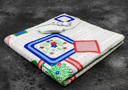 Электропростынь односпальная Lux Electric Blanket Green Flowers 155x75 см