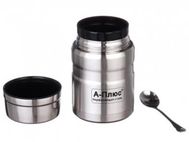 Харчовий термос в чохлі з ложкою A-Plus 1771 750 мл Steel