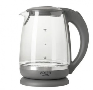 Електрочайник скляний Adler AD 1286 2000W 2 л Gray